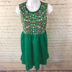 Cherokee Kid's Embroidered Floral Boho Dress Sz XL